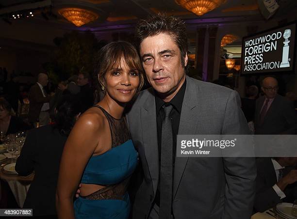 Actors Halle Berry and Benicio Del Toro attend HFPA Annual Grants Banquet at the Beverly Wilshire Four Seasons Hotel on August 13 2015 in Beverly...