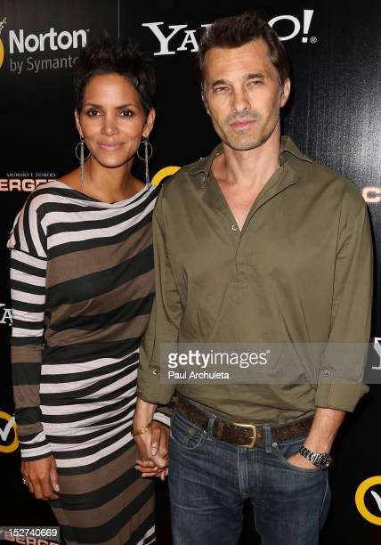 Actors Halle Berry and Olivier Martinez attend the 'Cybergeddon' premiere at the Pacific Design Center on September 24 2012 in West Hollywood...