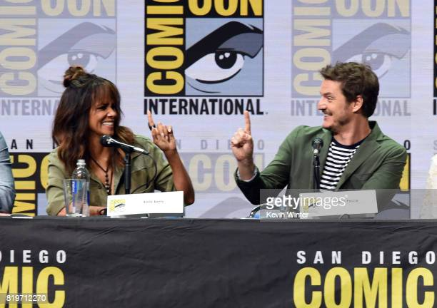 Actors Halle Berry and Pedro Pascal speak onstage at the 20th Century FOX panel during ComicCon International 2017 at San Diego Convention Center on...