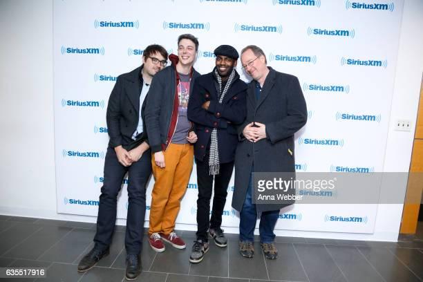 Actors Hampton Yount Baron Vaughn and Jonah Ray and creator of Mystery Science Theater 3000 Joel Hodgson visit SiriusXM Studios on February 15 2017...