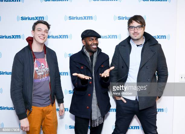 Actors Hampton Yount Baron Vaughn and Jonah Ray of Mystery Science Theater 3000 visit SiriusXM Studios on February 15 2017 in New York City