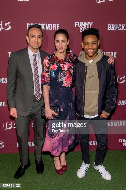 Actors Hank Azaria Amanda Peet and Tyrel Jackson Williams attend the 'Brockmire' red carpet event at 40 / 40 Club on March 22 2017 in New York City