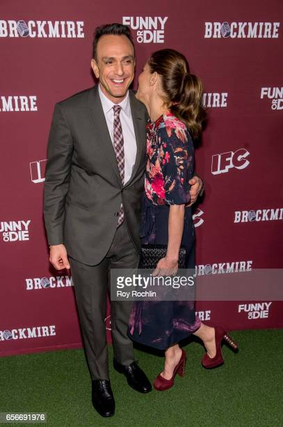 Actors Hank Azaria and Amanda Peet attend the 'Brockmire' red carpet event at 40 / 40 Club on March 22 2017 in New York City