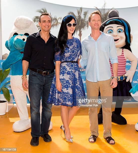Actors Hank Azaria Katy Perry and Neil Patrick Harris attend 'The Smurfs 2' photo call at The 5th Annual Summer Of Sony at the Ritz Carlton Hotel on...