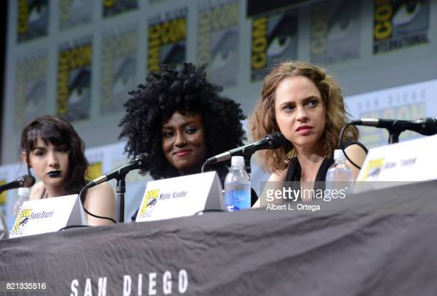 Actors Hannah Marks Jade Eshete and Fiona Dourif at Dirk Gently's Holistic Detective Agency BBC America Official Panel during ComicCon International...