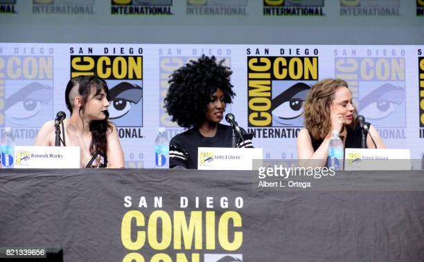 Actors Hannah Marks Jade Eshete and Fiona Dourif speak onstage at Dirk Gently's Holistic Detective Agency BBC America Official Panel during ComicCon...