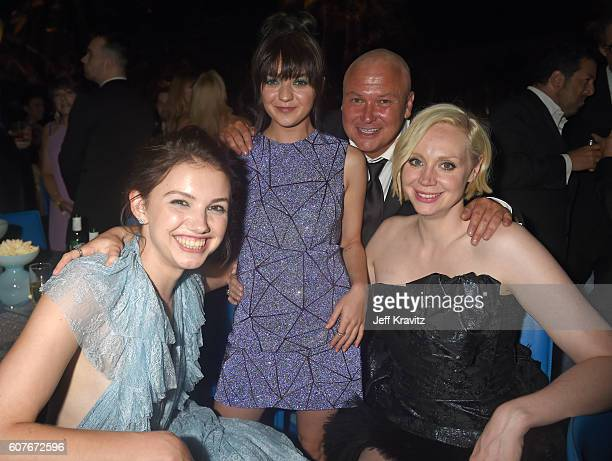 Actors Hannah Murray Maisie Williams Conleth Hill and Gwendoline Christie attend HBO's Official 2016 Emmy After Party at The Plaza at the Pacific...
