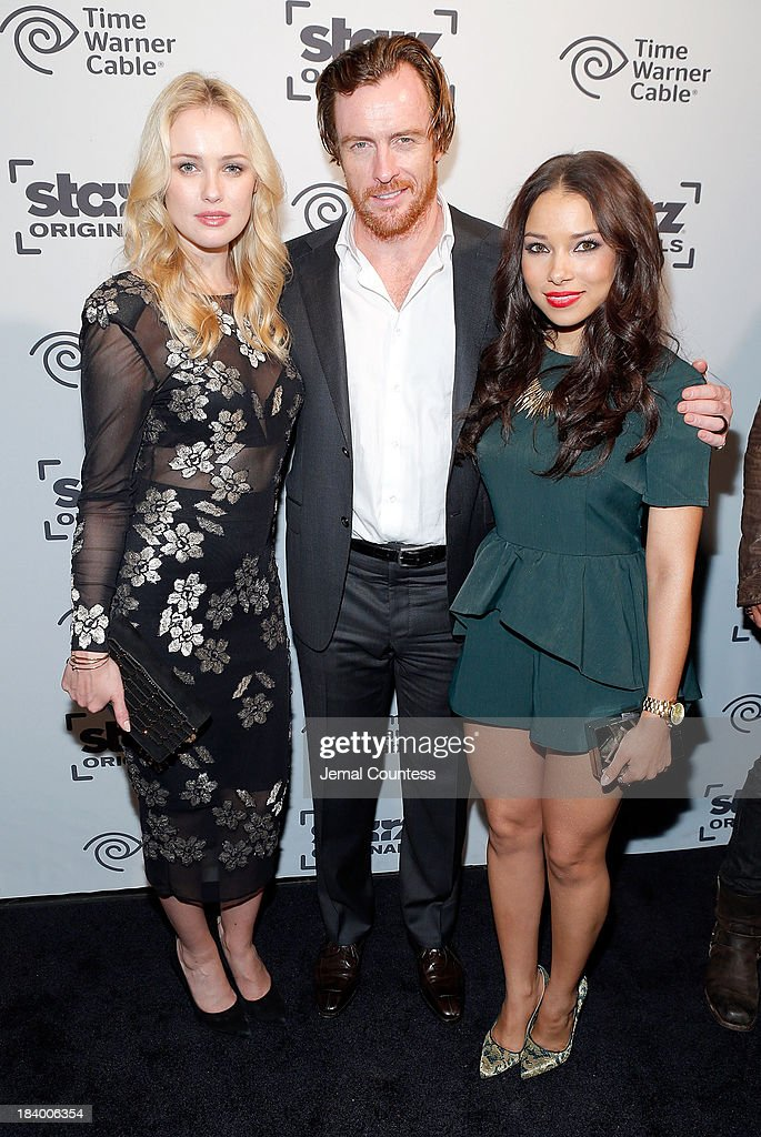 Actors Hannah New, <a gi-track='captionPersonalityLinkClicked' href=/galleries/search?phrase=Toby+Stephens&family=editorial&specificpeople=806801 ng-click='$event.stopPropagation()'>Toby Stephens</a> and <a gi-track='captionPersonalityLinkClicked' href=/galleries/search?phrase=Jessica+Parker+Kennedy&family=editorial&specificpeople=6964331 ng-click='$event.stopPropagation()'>Jessica Parker Kennedy</a> of the show 'Black Sails' attend the Starz Sleep No More Event at The McKittrick Hotel on October 10, 2013 in New York City.
