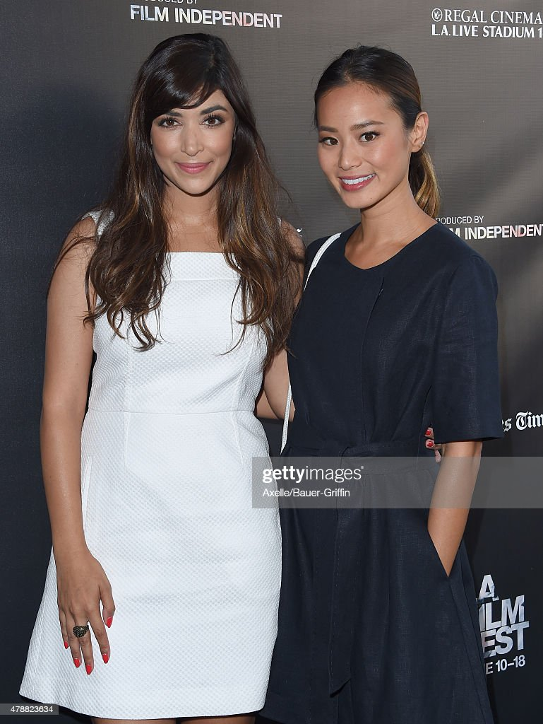 2015 los angeles film festival actors hannah simone l and jamie chung arrive at the 2015 los angeles film