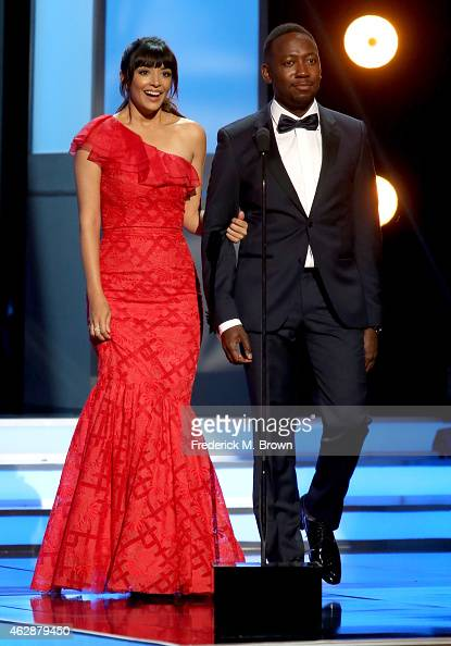 Actors Hannah Simone and Lamorne Morris speak onstage during the 46th NAACP Image Awards presented by TV One at Pasadena Civic Auditorium on February...