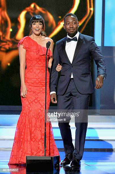 Actors Hannah Simone and Lamorne Morris speak onstage during the 46th Annual NAACP Image Awards on February 6 2015 in Pasadena California