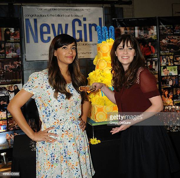 Actors Hannah Simone and Zooey Deschanel attend FOX's 'New Girl' 100th Episode CakeCutting at Fox Studio Lot on December 2 2015 in Century City...