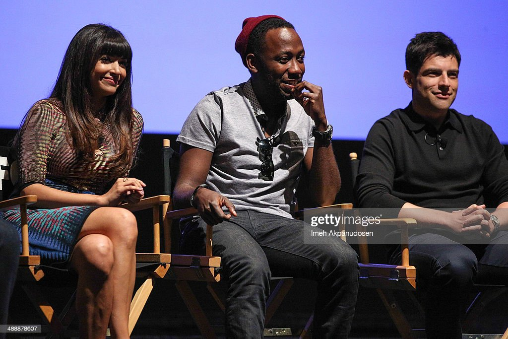 Actors Hannah Simone, Lamorne Morris, and Max Greenfield speak onstage at the 'New Girl' Season 3 Finale Screening and cast Q&A at Zanuck Theater at 20th Century Fox Lot on May 8, 2014 in Los Angeles, California.