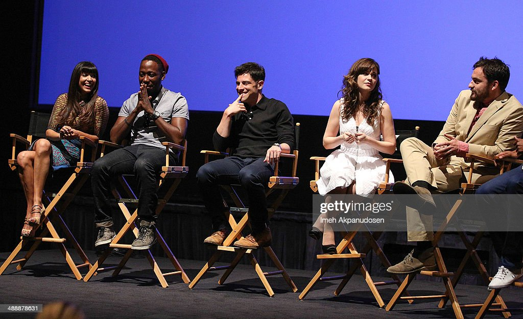 Actors Hannah Simone, Lamorne Morris, Max Greenfield, Zooey Deschanel, and Jake Johnson speak onstage at the 'New Girl' Season 3 Finale Screening and cast Q&A at Zanuck Theater at 20th Century Fox Lot on May 8, 2014 in Los Angeles, California.