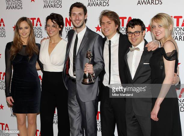 Actors Hannah Tointon Belinda StewartWilson Blake Harrison James Buckley Simon Bird and Emily Head pose in the press room at the The National...