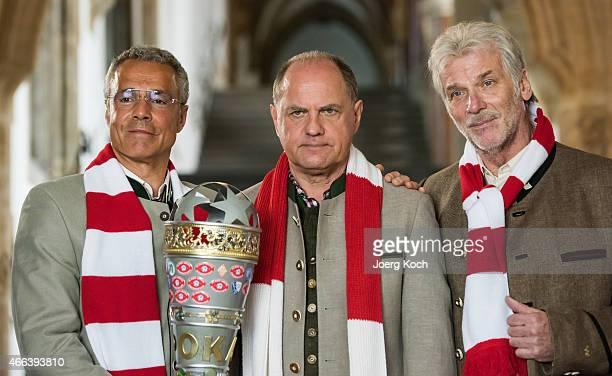 Actors Hannes Jaenicke Uwe Ochsenknecht and Wolfgang Fierek pose during a photo call for the film 'Udo Honig Kein schlechter Mensch' on March 15 2015...