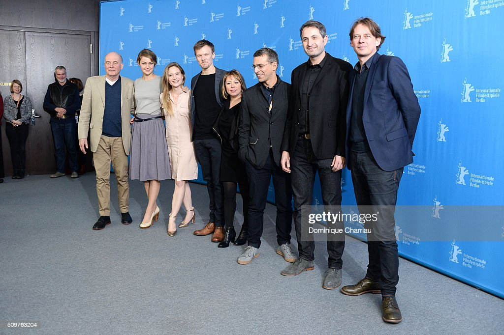 Actors Hanns Zischler, <a gi-track='captionPersonalityLinkClicked' href=/galleries/search?phrase=Luise+Heyer&family=editorial&specificpeople=12459158 ng-click='$event.stopPropagation()'>Luise Heyer</a>, <a gi-track='captionPersonalityLinkClicked' href=/galleries/search?phrase=Julia+Jentsch&family=editorial&specificpeople=217557 ng-click='$event.stopPropagation()'>Julia Jentsch</a>, Sebastian Huelk, director Asli Oezge, cinematographer Emre Erkmen, Fabian Massah and co-producer Frans van Gestel attend the 'All Of A Sudden' photo call during the 66th Berlinale International Film Festival Berlin at Grand Hyatt Hotel on February 12, 2016 in Berlin, Germany.