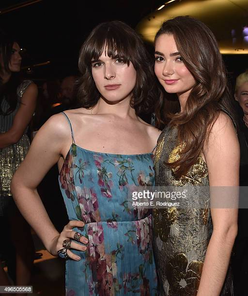Actors Hari Nef and Emily Robinson attend the Premiere Of Amazon's 'Transparent' Season 2 at SilverScreen Theater at the Pacific Design Center on...