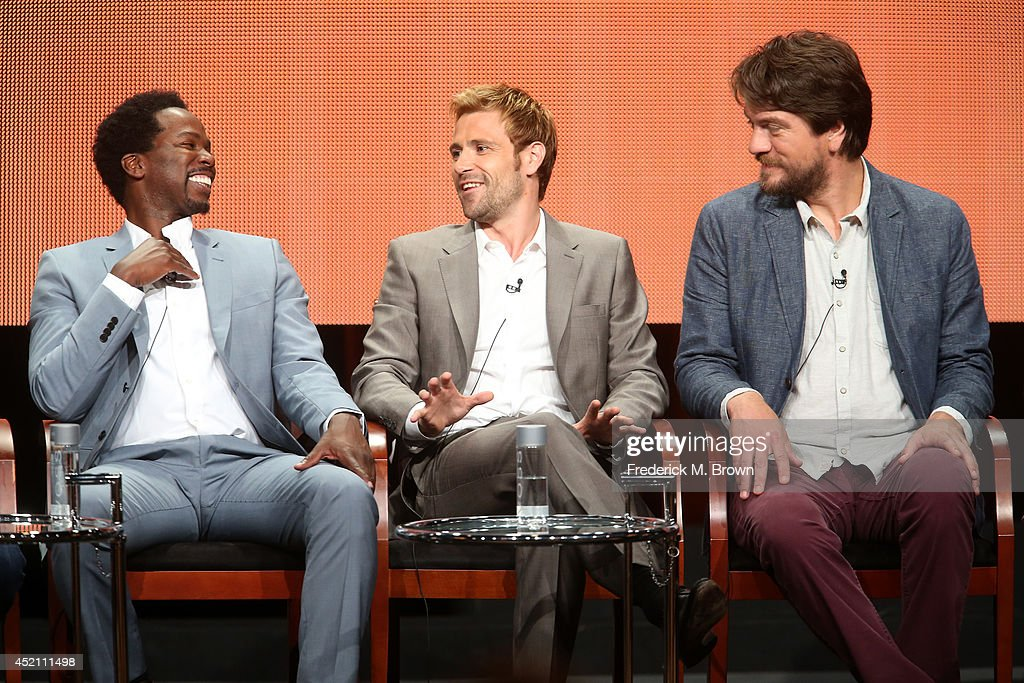Actors Harold Perrineau, Matt Ryan and Charles Halford speak onstage at the 'Constantine' panel during the NBCUniversal portion of the 2014 Summer Television Critics Association at The Beverly Hilton Hotel on July 13, 2014 in Beverly Hills, California.