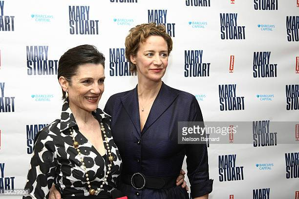 Actors Harriet Walter and Janet McTeer pose for a photograph at the afterparty for the opening night of 'Mary Stuart' at Tavern on the Green on April...