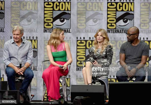 Actors Harrison Ford Ana de Armas Sylvia Hoeks and Lennie James attend the Warner Bros Pictures 'Blade Runner 2049' Presentation during ComicCon...
