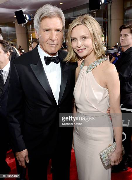 Actors Harrison Ford and Calista Flockhart attend the 72nd Annual Golden Globe Awards at The Beverly Hilton Hotel on January 11 2015 in Beverly Hills...