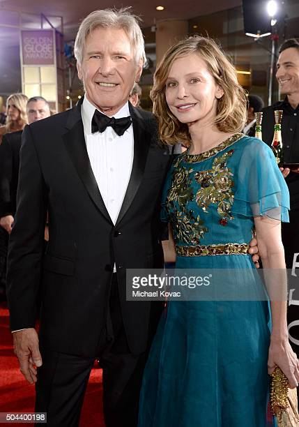 Actors Harrison Ford and Calista Flockhart attend the 73rd Annual Golden Globe Awards held at the Beverly Hilton Hotel on January 10 2016 in Beverly...