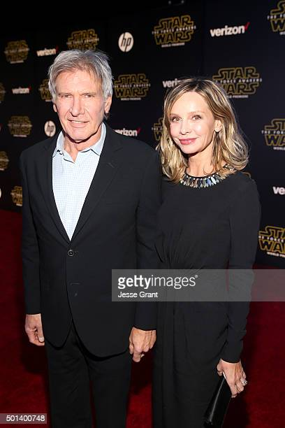 "Actors Harrison Ford and Calista Flockhart attend the World Premiere of ""Star Wars The Force Awakens"" at the Dolby El Capitan and TCL Theatres on..."