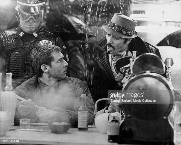 Actors Harrison Ford and Edward James Olmos in a scene from the movie 'Blade Runner' 1982