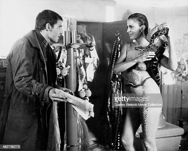 Actors Harrison Ford and Joanna Cassidy in a scene from the movie 'Blade Runner' 1982