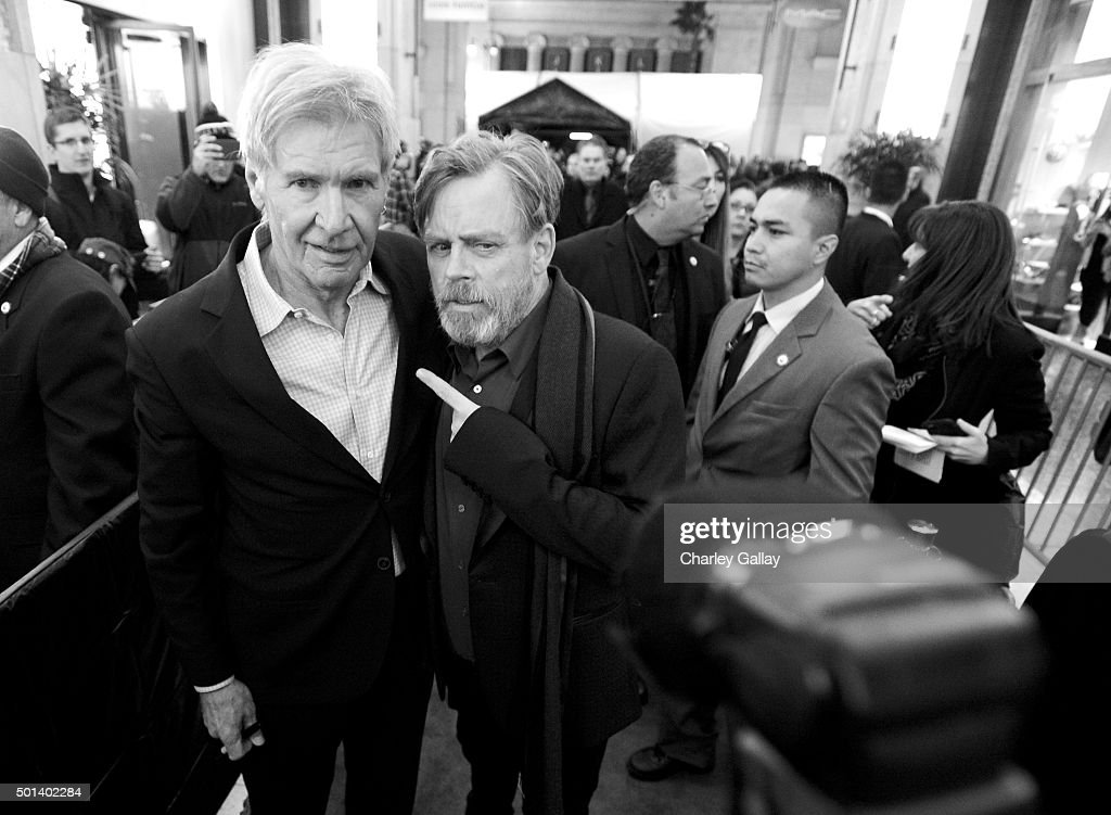 """Actors Harrison Ford (L) and Mark Hamill attend the World Premiere of """"Star Wars: The Force Awakens"""" at the Dolby, El Capitan, and TCL Theatres on December 14, 2015 in Hollywood, California."""