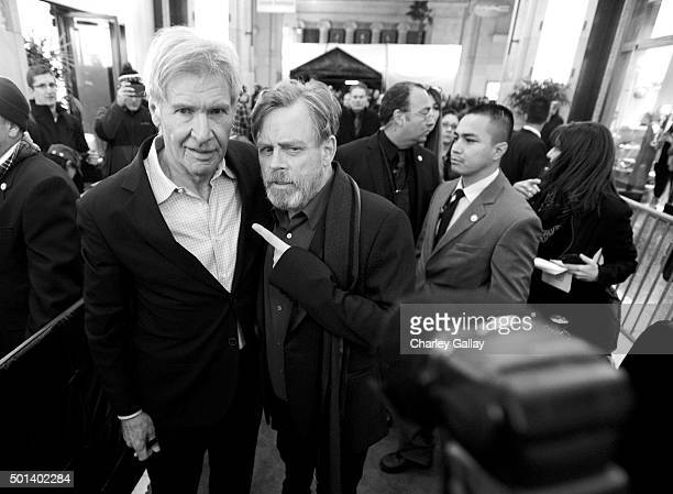 "Actors Harrison Ford and Mark Hamill attend the World Premiere of ""Star Wars The Force Awakens"" at the Dolby El Capitan and TCL Theatres on December..."