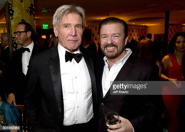 Actors Harrison Ford and Ricky Gervais attend HBO's Official Golden Globe Awards After Party at The Beverly Hilton Hotel on January 10 2016 in...