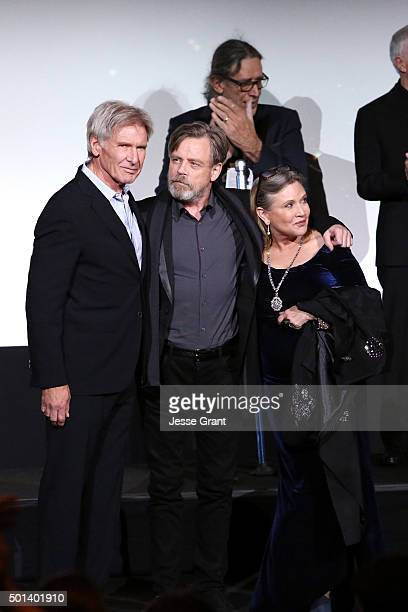 "Actors Harrison Ford Mark Hamill and Carrie Fisher attend the World Premiere of ""Star Wars The Force Awakens"" at the Dolby El Capitan and TCL..."