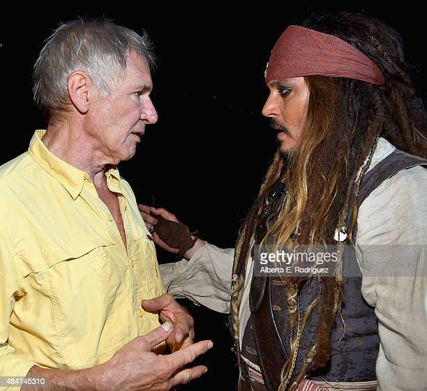Actors Harrison Ford of STAR WARS THE FORCE AWAKENS and Johnny Depp dressed as Captain Jack Sparrow of PIRATES OF THE CARIBBEAN DEAD MEN TELL NO...