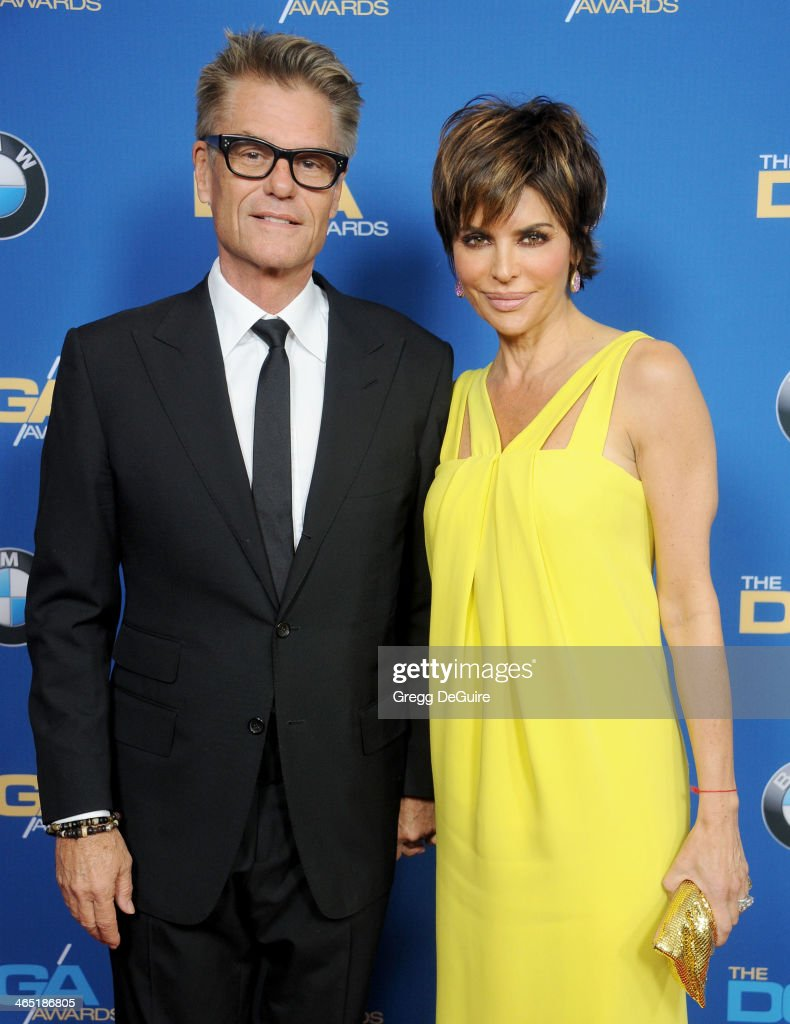 Actors <a gi-track='captionPersonalityLinkClicked' href=/galleries/search?phrase=Harry+Hamlin&family=editorial&specificpeople=211584 ng-click='$event.stopPropagation()'>Harry Hamlin</a> and <a gi-track='captionPersonalityLinkClicked' href=/galleries/search?phrase=Lisa+Rinna&family=editorial&specificpeople=202100 ng-click='$event.stopPropagation()'>Lisa Rinna</a> arrive at the 66th Annual Directors Guild Of America Awards at the Hyatt Regency Century Plaza on January 25, 2014 in Century City, California.