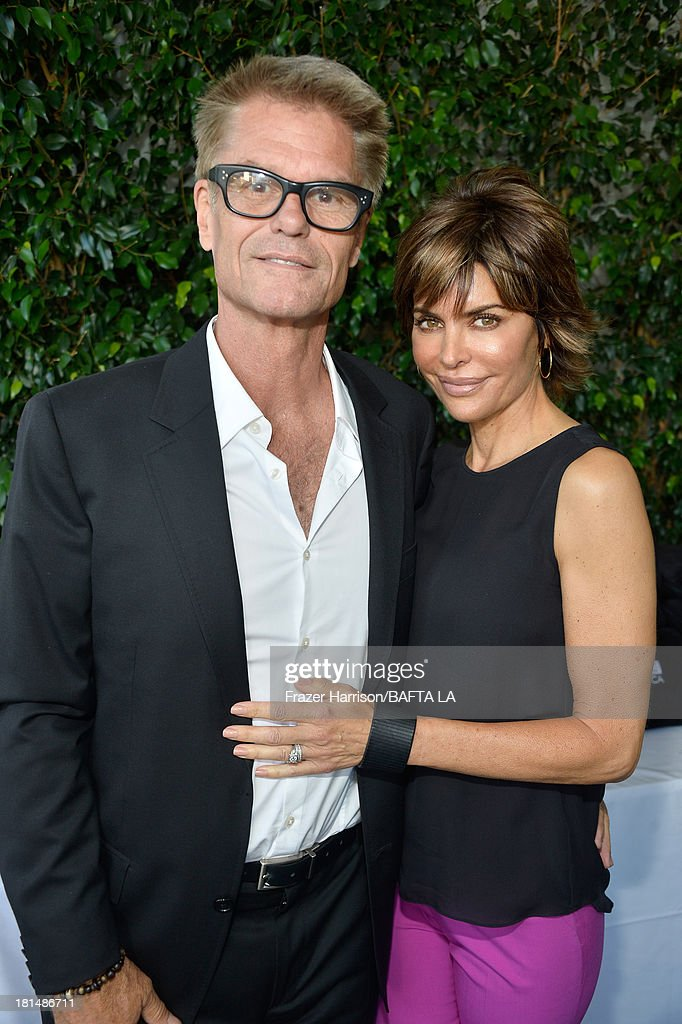 Actors <a gi-track='captionPersonalityLinkClicked' href=/galleries/search?phrase=Harry+Hamlin&family=editorial&specificpeople=211584 ng-click='$event.stopPropagation()'>Harry Hamlin</a> (L) and <a gi-track='captionPersonalityLinkClicked' href=/galleries/search?phrase=Lisa+Rinna&family=editorial&specificpeople=202100 ng-click='$event.stopPropagation()'>Lisa Rinna</a> attend the BAFTA LA TV Tea 2013 presented by BBC America and Audi held at the SLS Hotel on September 21, 2013 in Beverly Hills, California.