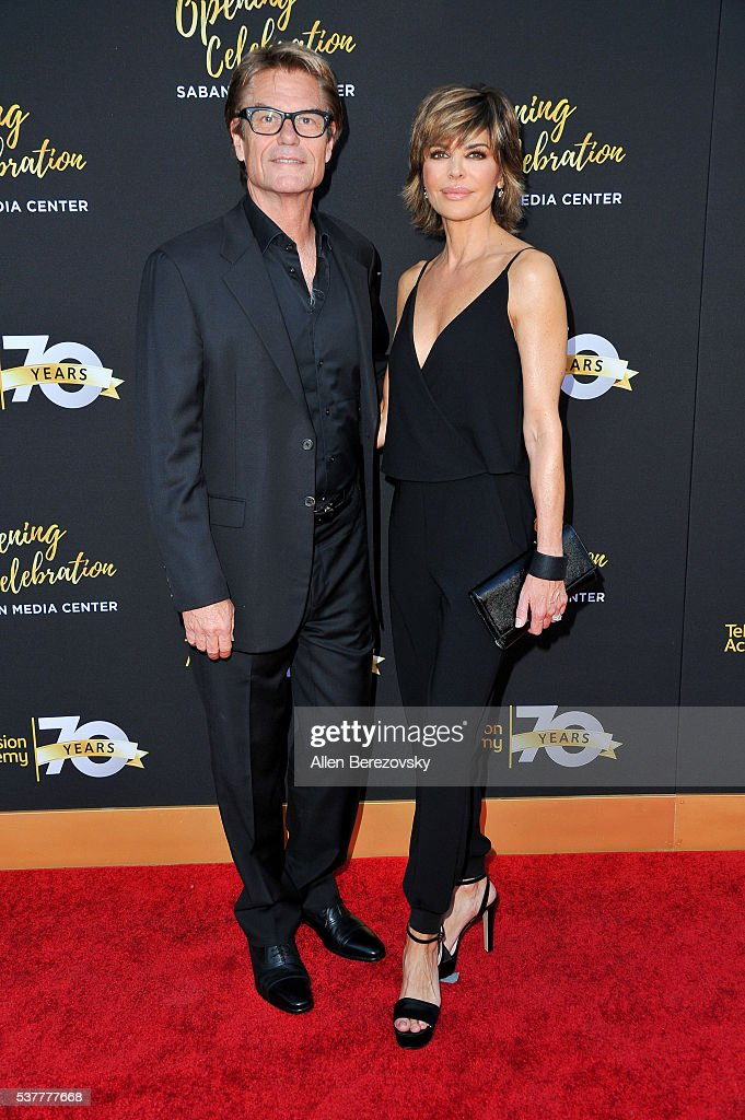 Actors <a gi-track='captionPersonalityLinkClicked' href=/galleries/search?phrase=Harry+Hamlin&family=editorial&specificpeople=211584 ng-click='$event.stopPropagation()'>Harry Hamlin</a> (L) and <a gi-track='captionPersonalityLinkClicked' href=/galleries/search?phrase=Lisa+Rinna&family=editorial&specificpeople=202100 ng-click='$event.stopPropagation()'>Lisa Rinna</a> attend the Television Academy's 70th Anniversary Gala on June 2, 2016 in Los Angeles, California.