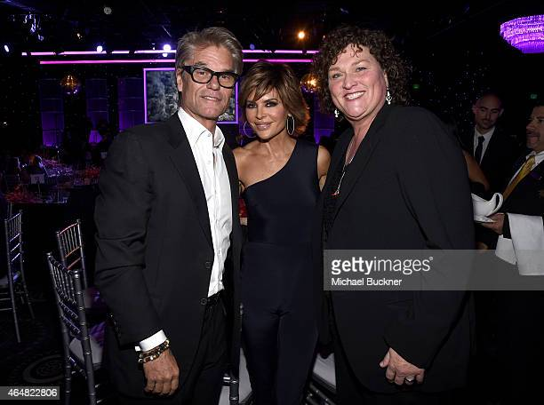 Actors Harry Hamlin Lisa Rinna and Dot Jones attend the Family Equality Council's 2015 Los Angeles Awards dinner at The Beverly Hilton Hotel on...