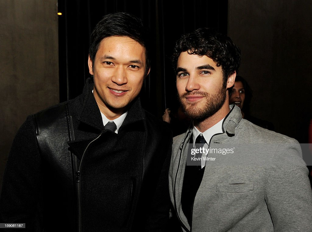 Actors <a gi-track='captionPersonalityLinkClicked' href=/galleries/search?phrase=Harry+Shum+Jr.&family=editorial&specificpeople=4862988 ng-click='$event.stopPropagation()'>Harry Shum Jr.</a> (L) and <a gi-track='captionPersonalityLinkClicked' href=/galleries/search?phrase=Darren+Criss&family=editorial&specificpeople=7341435 ng-click='$event.stopPropagation()'>Darren Criss</a> pose at the after party for a screening of Tribeca Film's 'Struck By Lightning' at Eden on January 6, 2013 in Los Angeles, California.