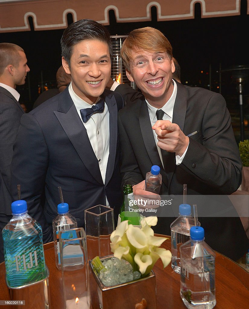 Actors Harry Shum Jr. (L) and Jack McBrayer attend The Weinstein Company's SAG Awards After Party Presented By FIJI Water at Sunset Tower on January 27, 2013 in West Hollywood, California.
