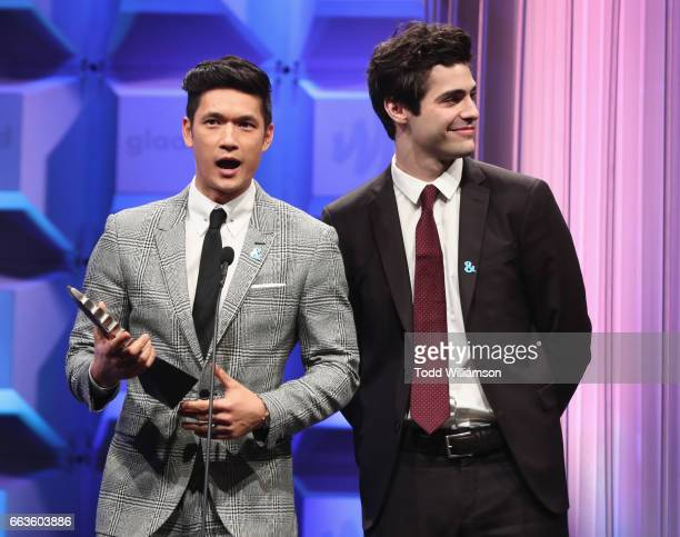 Actors Harry Shum Jr and Matthew Daddario accept the Outstanding Drama Series award for 'Shadowhunters' onstage during the 28th Annual GLAAD Media...
