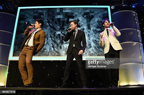 Actors Harry Shum Jr Chord Overstreet and Darren Criss perform onstage during the Family Equality Council's 2015 Los Angeles Awards dinner at The...
