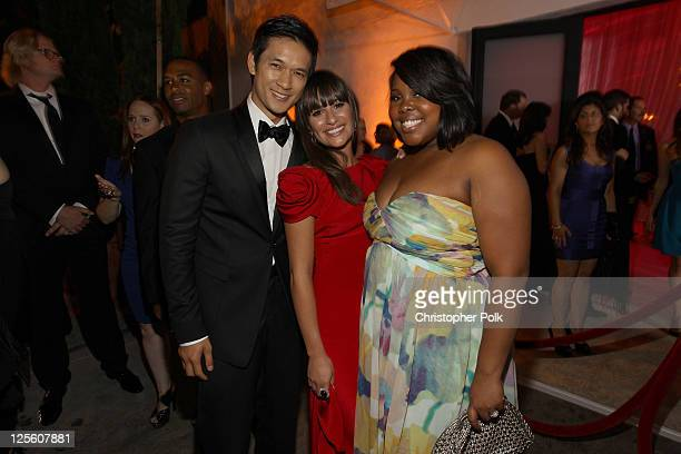 Actors Harry Shum Jr Lea Michele and Amber Riley attend the EMMY nominees celebration with FOX Broadcasting Company Twentieth Century FOX Television...