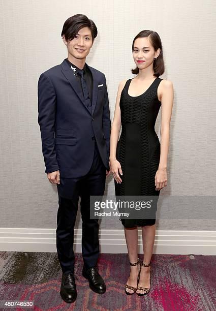 Actors Haruma Miura and Kiko Mizuhara attend the 'ATTACK ON TITAN' World Premiere press conference on July 14 2015 in Hollywood California