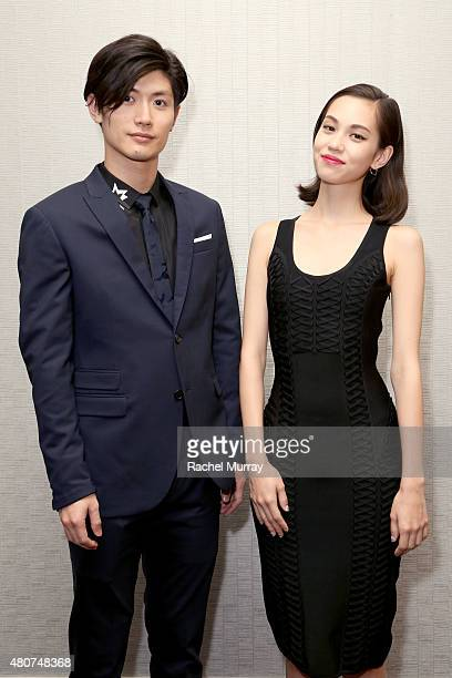Actors Haruma Miura and Kiko Mizuhara attend the 'ATTACK ON TITAN' World Premiere press conference on July 14 2015 in Hollywood California