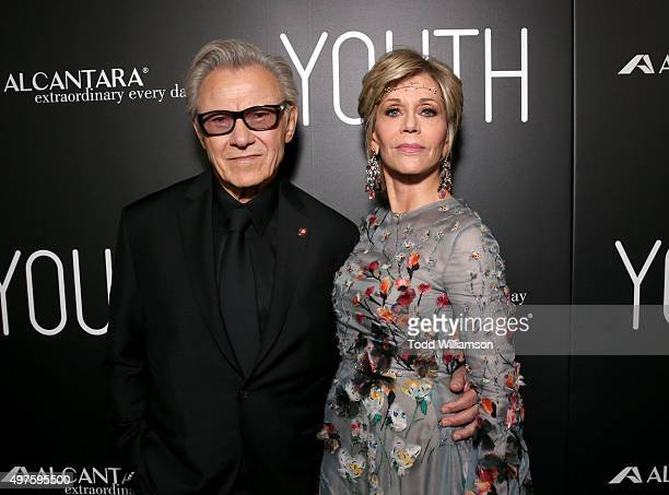 Actors Harvey Keitel and Jane Fonda arrive at the Los Angeles Premiere of Fox Searchlight's 'Youth' at the Directors Guild Theatre on November 17...