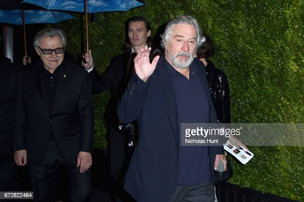 Actors Harvey Keitel and Robert De Niro attend the CHANEL Tribeca Film Festival Artists Dinner at Balthazar on April 24 2017 in New York City