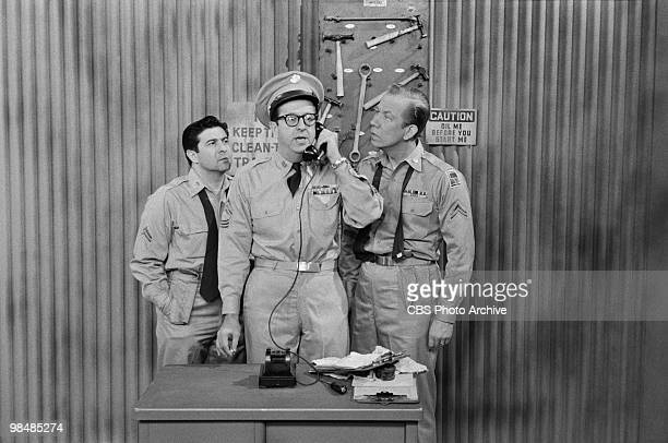 Actors Harvey Lembeck as Cpl Rocco Barbella Phil Silvers as MSgt Ernest G 'Ernie' Bilko and Allan Melvin as Cpl Steve Henshaw on 'The Phil Silvers...