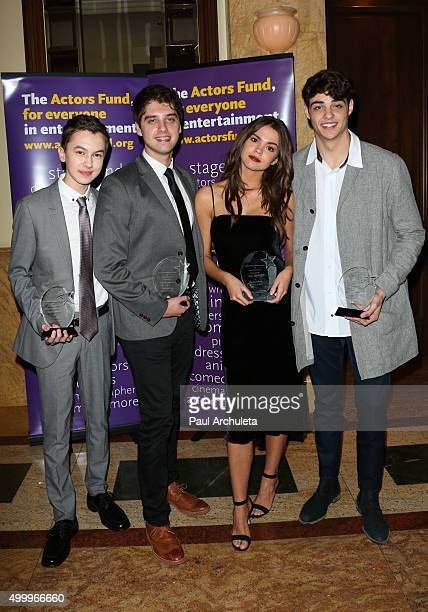 Actors Hayden Byerly David Lambert Maia Mitchell and Noah Centineo attend The Actors Fund's 2015 Looking Ahead Awards at Taglyan Cultural Complex on...